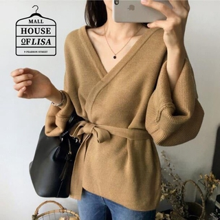 LISA- Women's Sweater Loose Solid Color V-neck Long-sleeve Knittedt Sweater