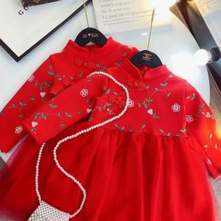 Váy Sườn Xám Cổ Tàu Đỏ Phối Ren In Hoa Năm Mới Dành Cho Bé Gái (V0002)
