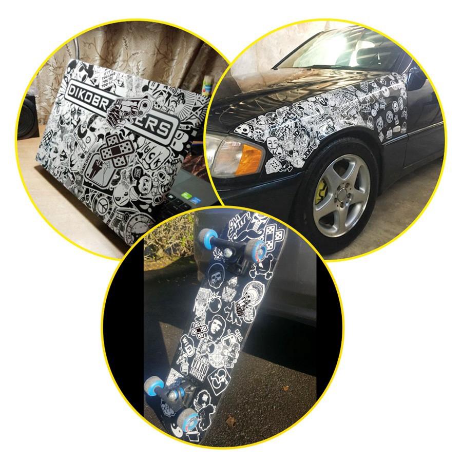 Set 50 sticker màu trắng/đen dán trang trí laptop/vali/xe hơi