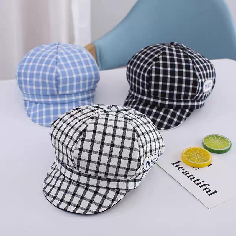 Mũ nồi trẻ em, mũ beret cho bé kẻ caro I'm Busy (3-18 tháng)