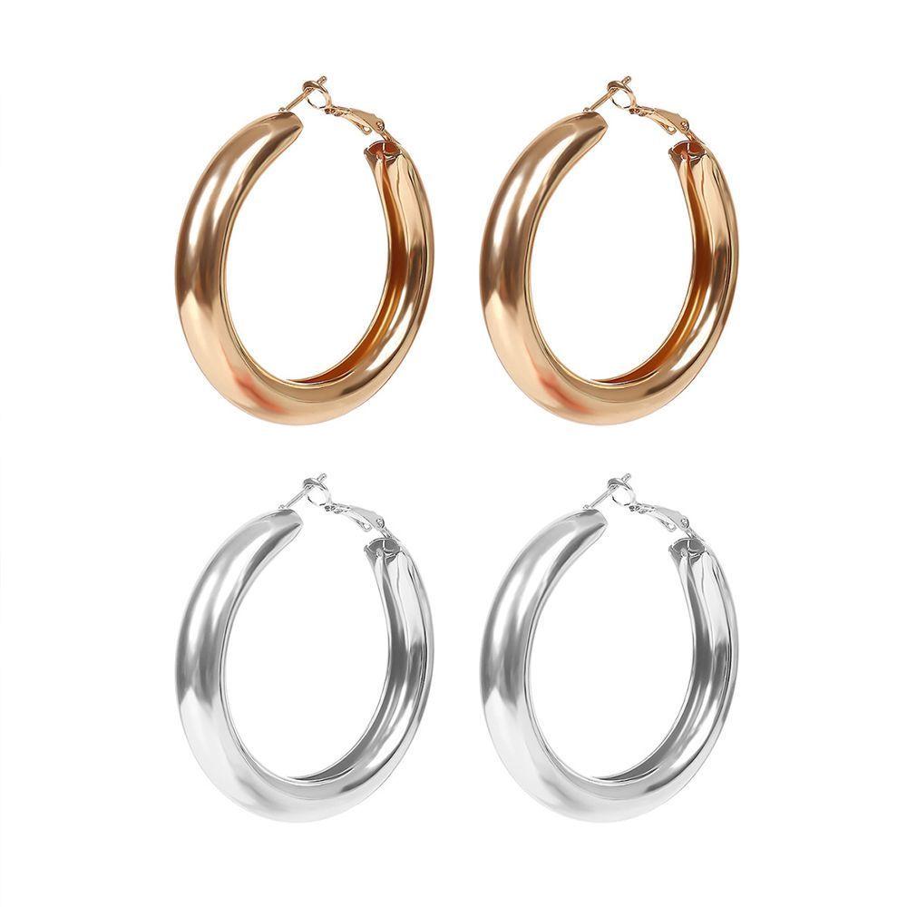 Khuyên tai hợp kim dạng tròn mạ vàng mạ bạc phong cách đơn giản đầy quý phái