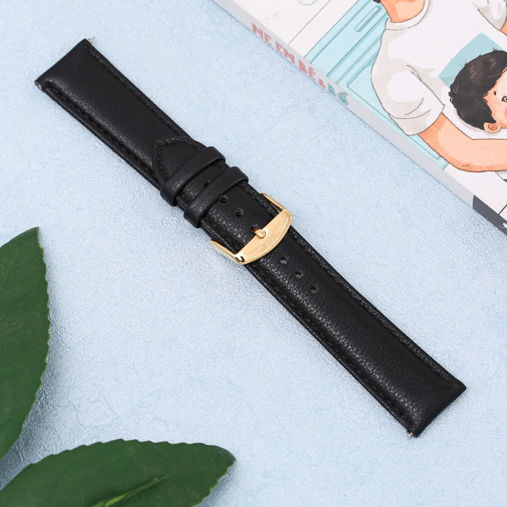 Dây da đồng hồ SR Watch chính hãng 1011.61 Đen