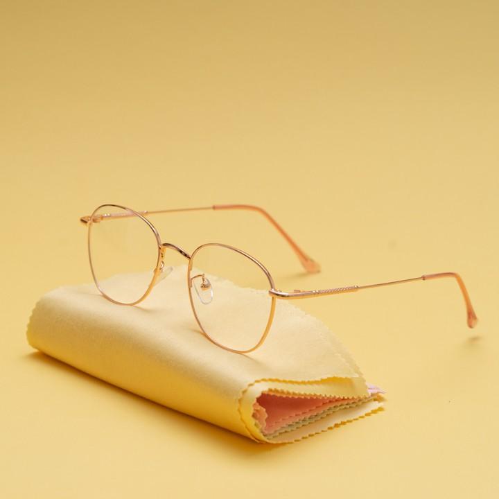 Gọng kính cận kim loại cho mặt tròn 4U, mắt vuông chống bụi hoặc lắp cận, màu vàng hồng –...