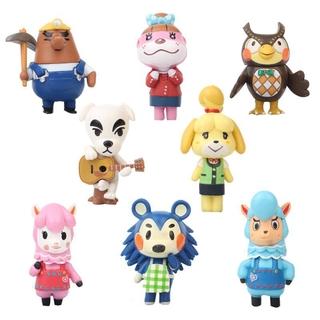 8Pcs Set Animal Crossing Figures Toy Set KK Slider Isabelle Birthday Kids Gifts Cake Decor