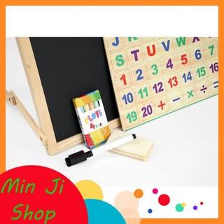 [Sale shop mới] [Mã TOYDEC giảm 10% tối đa 15K đơn từ 50K] Bảng gỗ nam châm giáo dục 2 mặt cho bé học chữ cái MinJi Shop