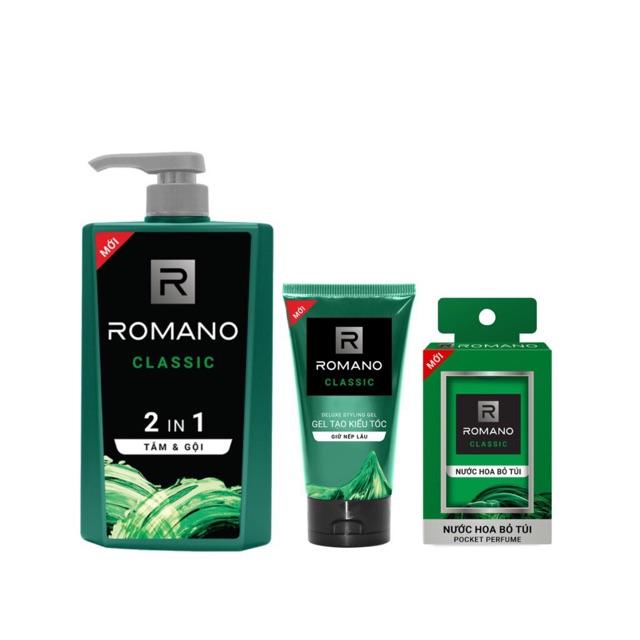 Combo Romano gồm : 1 chai tắm gội Romano 650g, 3 chai nước hoa bỏ túi, 1 gel vuốt tóc 150g