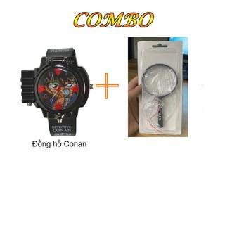Đồng hồ trẻ em Conan đeo tay bắn laser và kính lúp thám tử conan