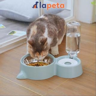 Bát ăn cho mèo chó thú cưng hai ngăn đôi có bát inox khay bình nước tự động hình tai mèo thumbnail