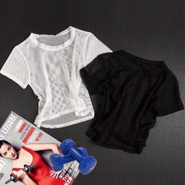 Mặc gì đẹp: Dẻo dai với Áo lưới tập gym nữ tập yoga thể thao vải thoáng mát giặt nhanh khô hàng quảng châu mặc tôn dáng  EvaSport_vn