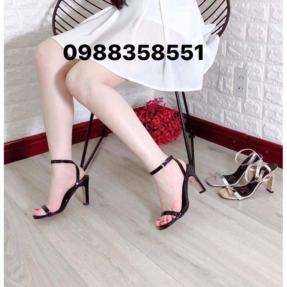 Sandal cao gót dây mảnh da bóng gót dẹt 9p hàng VNXK (2 ảnh thật cuối)