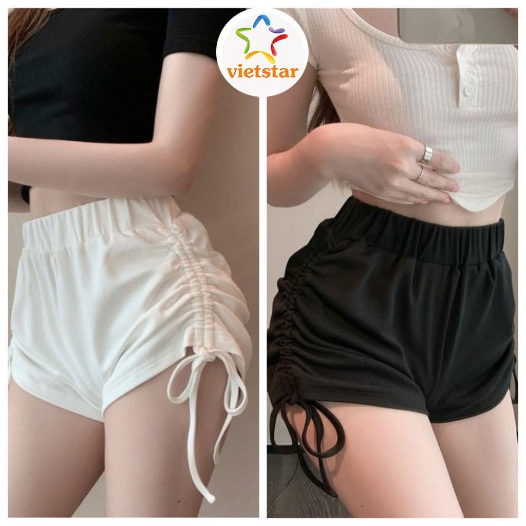 Quần đùi nữ mặc nhà RÚT DÂY quần short ngắn cạp chun chất thun lạnh co dãn Ulzzang - VIETSTAR