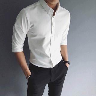 Áo Sơ Mi Nam trắng dài tay Hàn Quốc form body, vải lụa Thái chống nhăn [Thời Trang Nam]