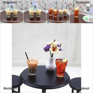 Warmheart 1:12 Miniature milk tea lemon tea dollhouse diy doll house decor accessories