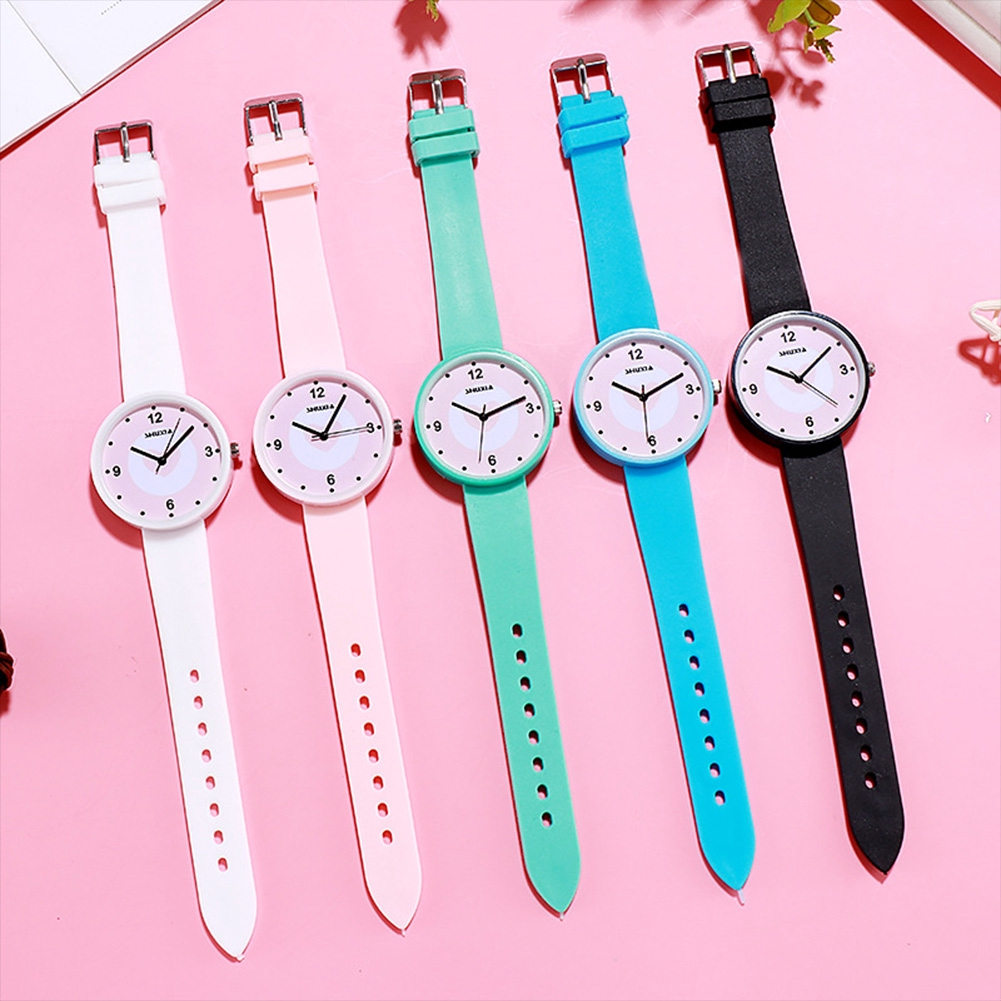 K-pop Women's Simple Casual Jelly Color Cute Round Dial Quartz Watch with Silicone Strap