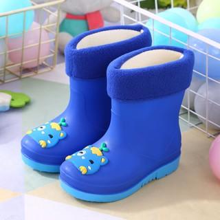 Giày Boots Cao Su Phối Nhung Thời Trang Cho Bé