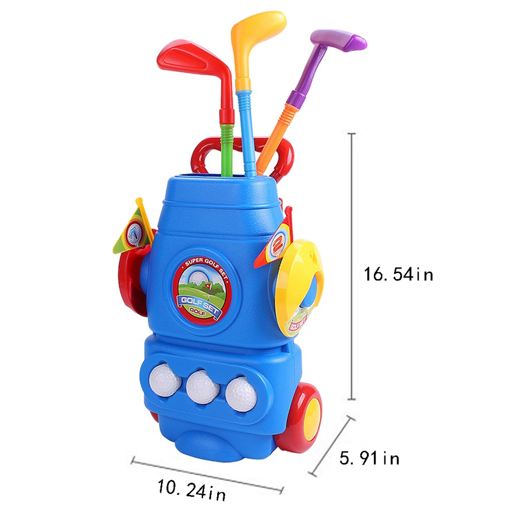 Golf Sports Toy Set Kids Golf Game Toy with 3 Clubs 2 Holes 3 Balls