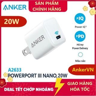 [ ANKER VN ] Cốc Sạc ANKER PowerPort III Nano PD 1 Cổng PIQ 20W 18W (PD & QC 3.0) - Anker PD A2633 A2616 thumbnail