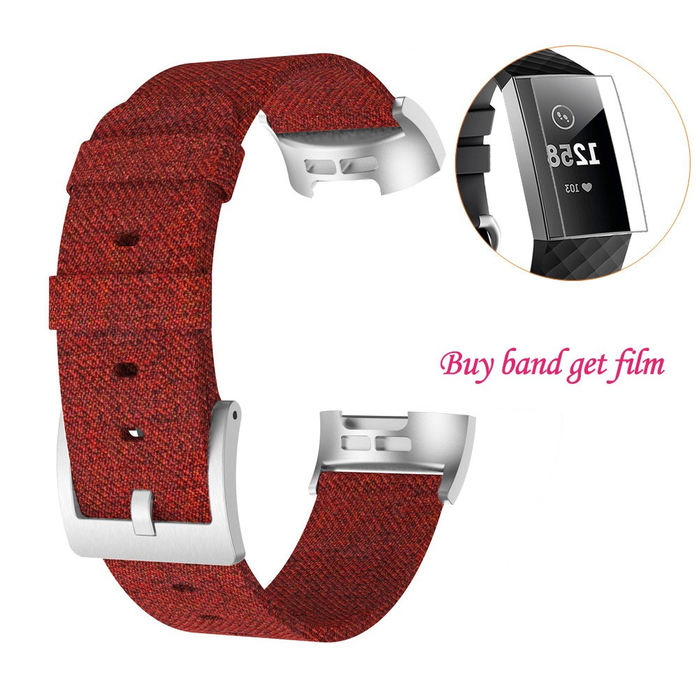Replacement Woven Canvas Fabric Watch Band Wrist Strap+ Film For Fitbit Charge 3