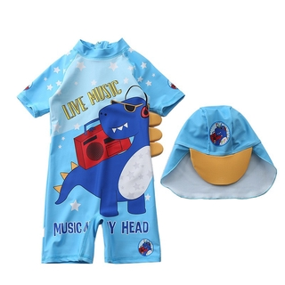 Đồ bơi bé trai kiểu dáng liền thân mới nhất hè 2021- khủng long chống nắng kèm nón