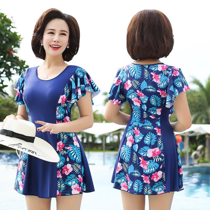 (Sẵn) Bikini Đồ bơi đi biển váy phối hoa cho các mẹ trung niên, người lớn tuổi, áo tắm đi biển cho mẹ
