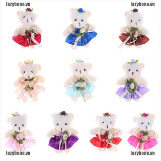 {lazy} Lovely Mini Soft Plush Bears 12cm Stuffed Small Bear Doll Toy For Kids Gift{bone}