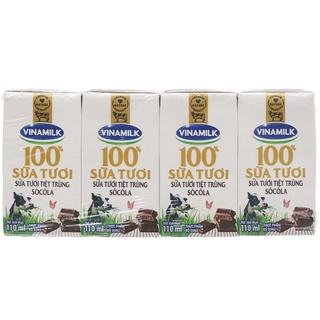 Lốc 4 hộp sữa tươi có đường/ít đường/socola Vinamilk 110ml