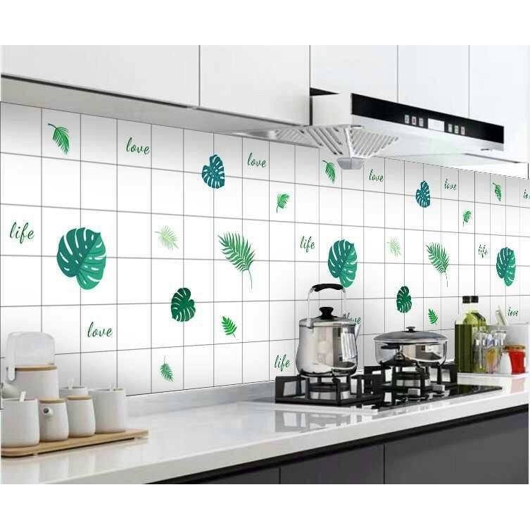 Decal dán bếp tráng nhôm, giấy dán tường bếp chống dầu mỡ chịu nhiệt