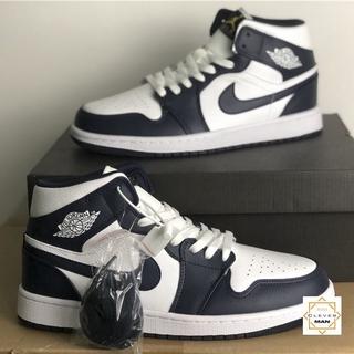 (FREESHIP+FULLBOX) Giày Thể Thao Sneakers AIR JORDAN 1 Retro High CO Japan Midnight Navy Xanh Tím Than Logo Vàng thumbnail