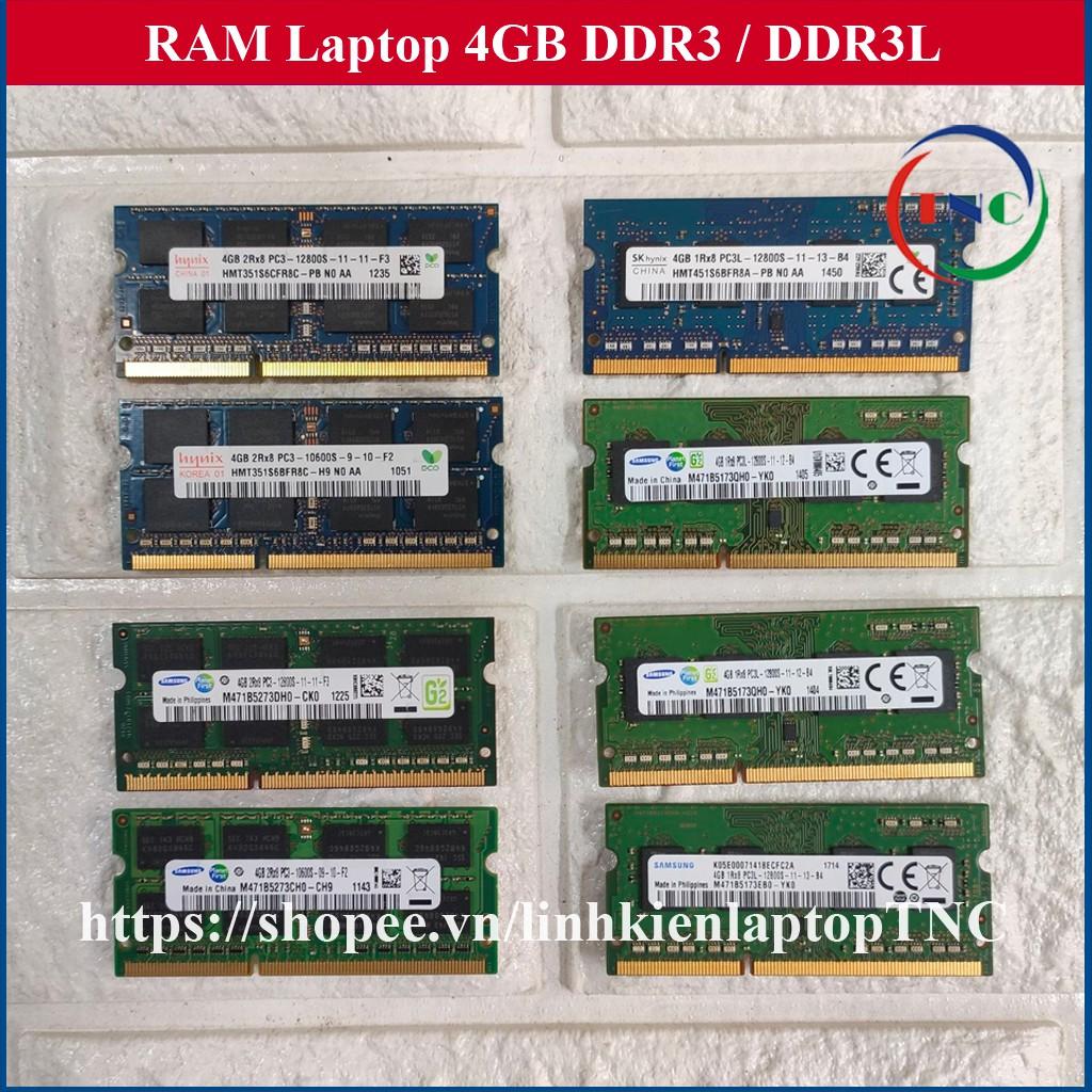 RAM Laptop 4Gb DDR3 cũ tháo máy BUS 1333 1600 (Ram Laptop PC3-4G cũ)