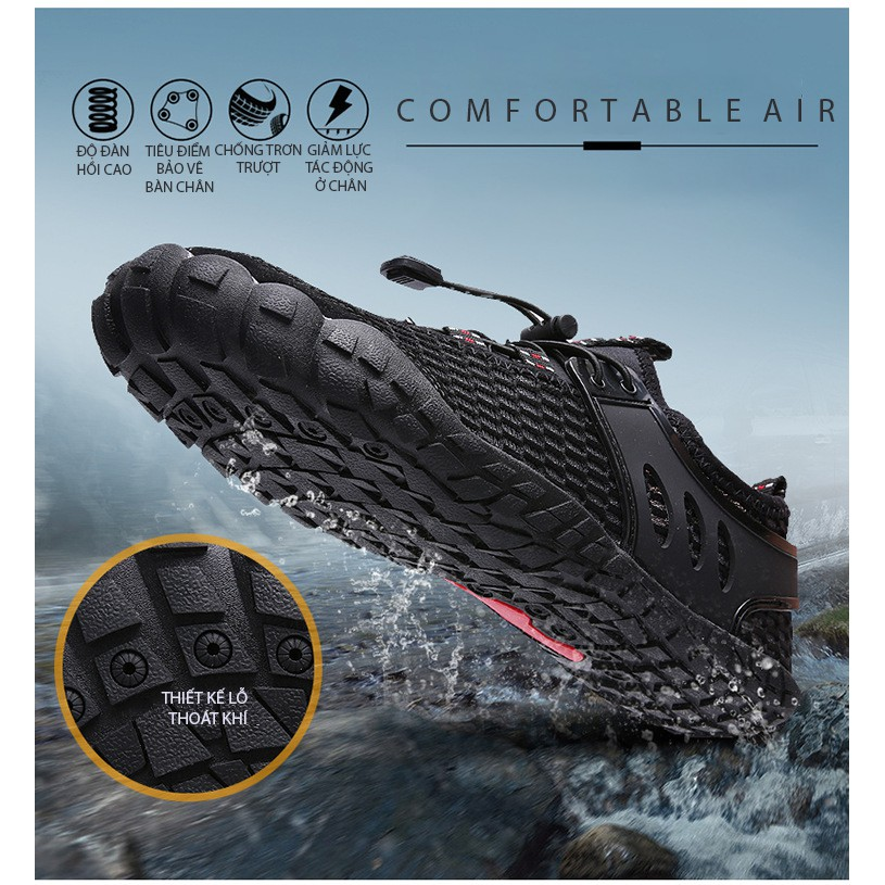 Giày đi biển, bơi lội, chèo thuyền, lội suối, trekking, cao cấp đế cao su thoát nước kiểu dáng mới