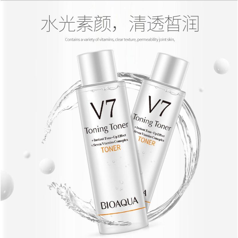 Nước hoa hồng toner và sữa dưỡng da Emulsion V7 Bioaqua