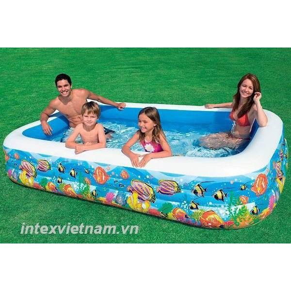 Bể bơi gia đình vuông cá 305x183x56 intex 58485 + tặng kèm bộ keo vá