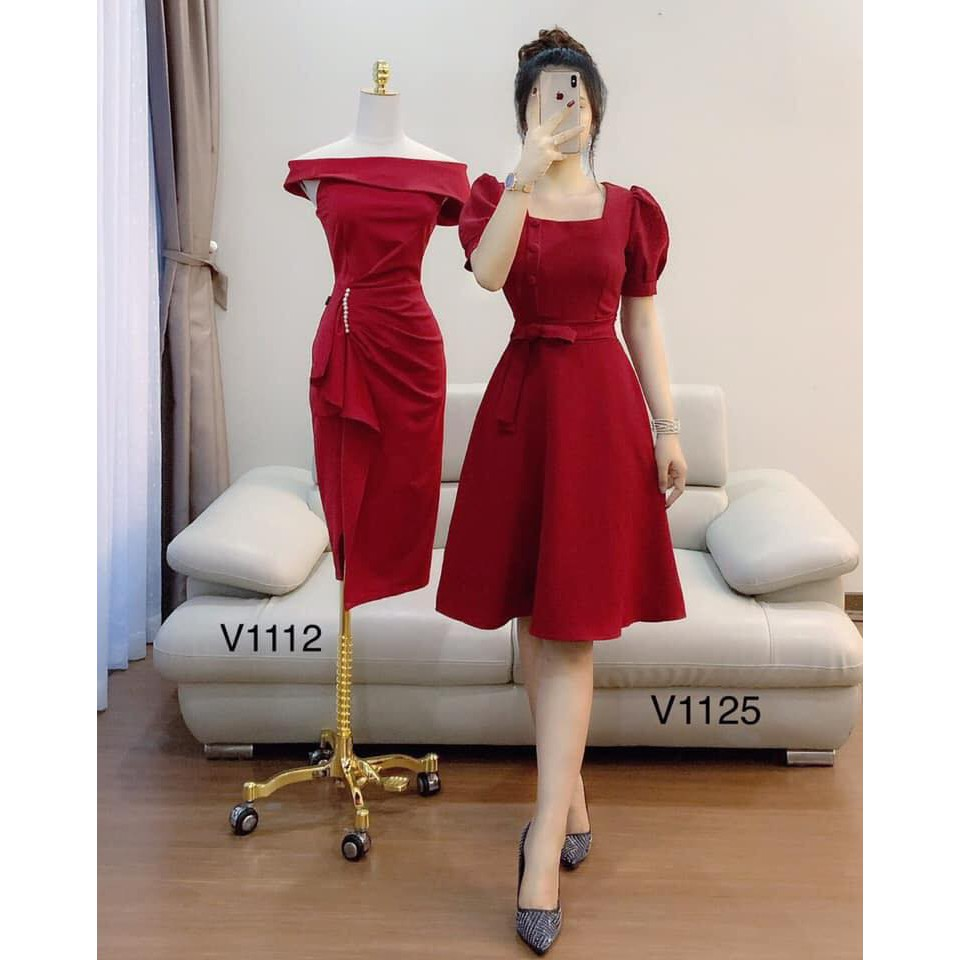 Đầm Nữ Xòe Cổ Vuông Cột Eo Thời Trang Bonucci V1125