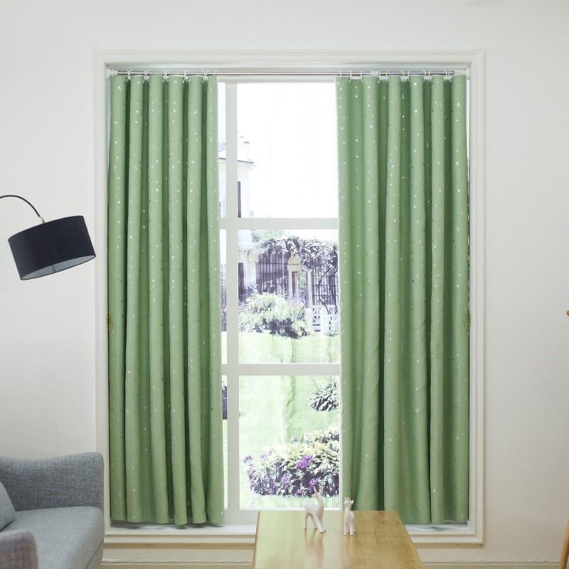 Rèm cửa sổ, cửa chính họa tiết sao sáng lấp lánh, Rèm trang trí nhà cửa vải gấm mềm mịn cao cấp chống nắng, chống tia UV