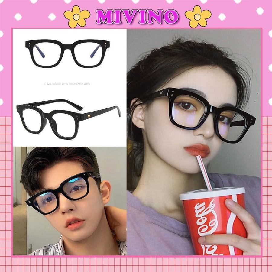 Mắt kính nam nữ gọng vuông chữ V thời trang KM18