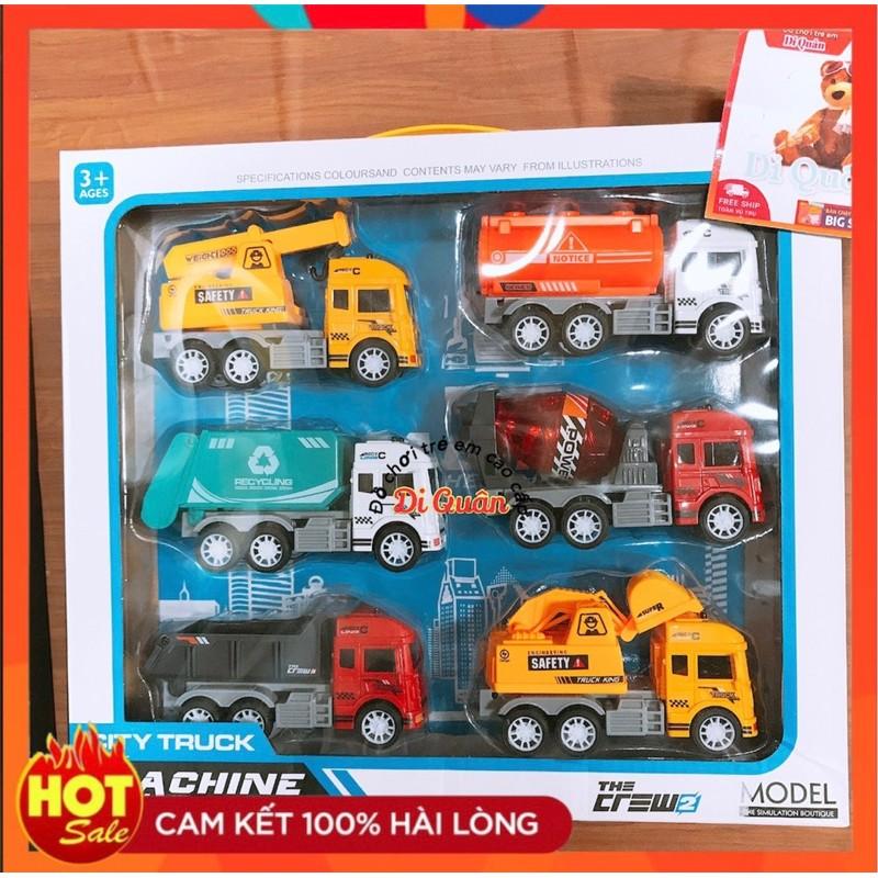 đồ chơi HỘP XE CT TRỚN 6 CHIẾC :CẨU,CÀO,BỒn,BEN,TRỘN,HỐT RÁC(ảnh thật shop tự chụp và bản quyền hình ảnh)