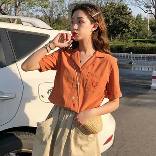 Korean style suit collar embroidered short-sleeved shirt
