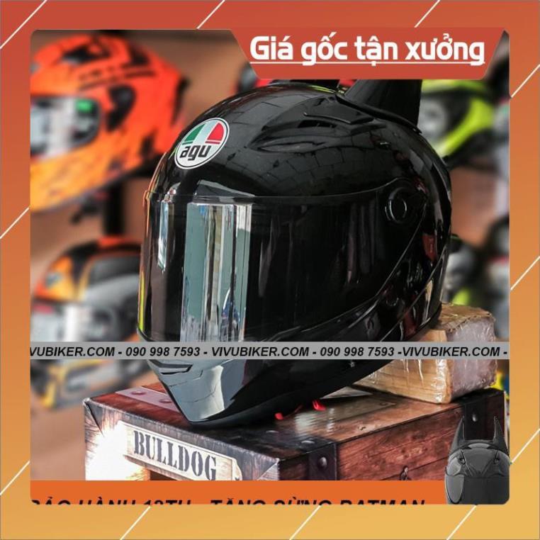 [Giống ảnh] Nón bảo hiểm fullface đen bóng AGU m138 - Mũ bảo hiểm ASIA đen mờ nhám kèm sừng BATMAN chính hãng