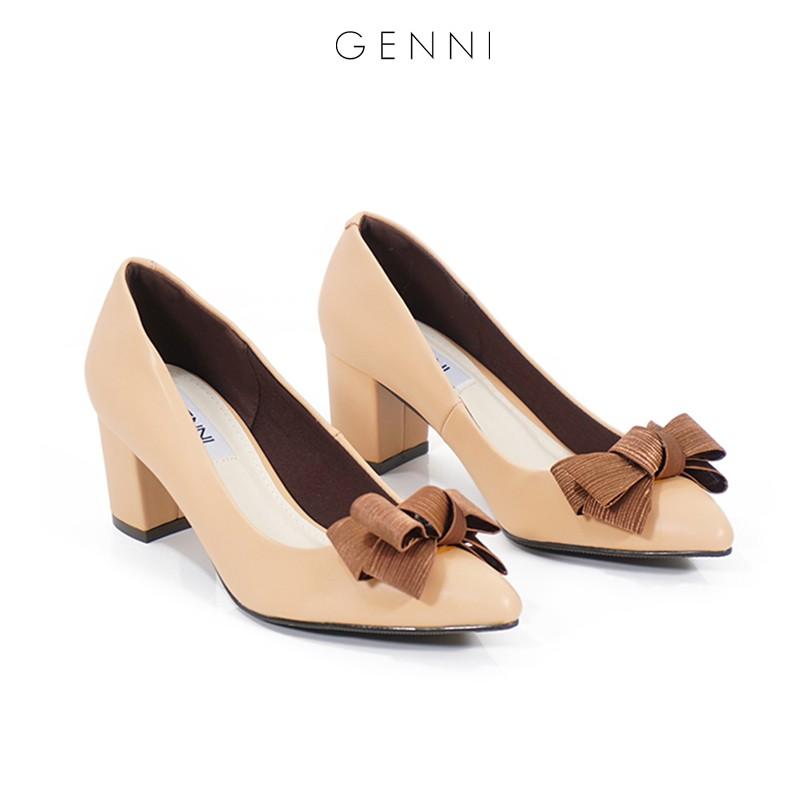 Giày gót vuông đính nơ 5P GE004 - Genni