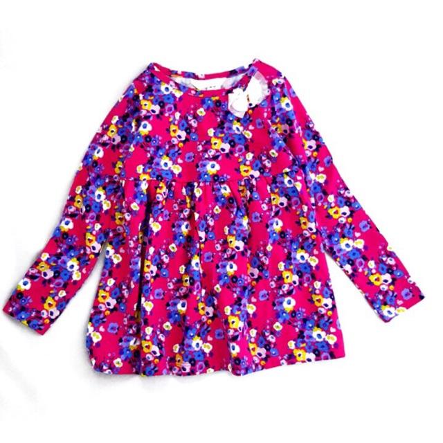 Bộ đầm tay dài xuất xịn hàng VNXK và quần legging lửng bé gái