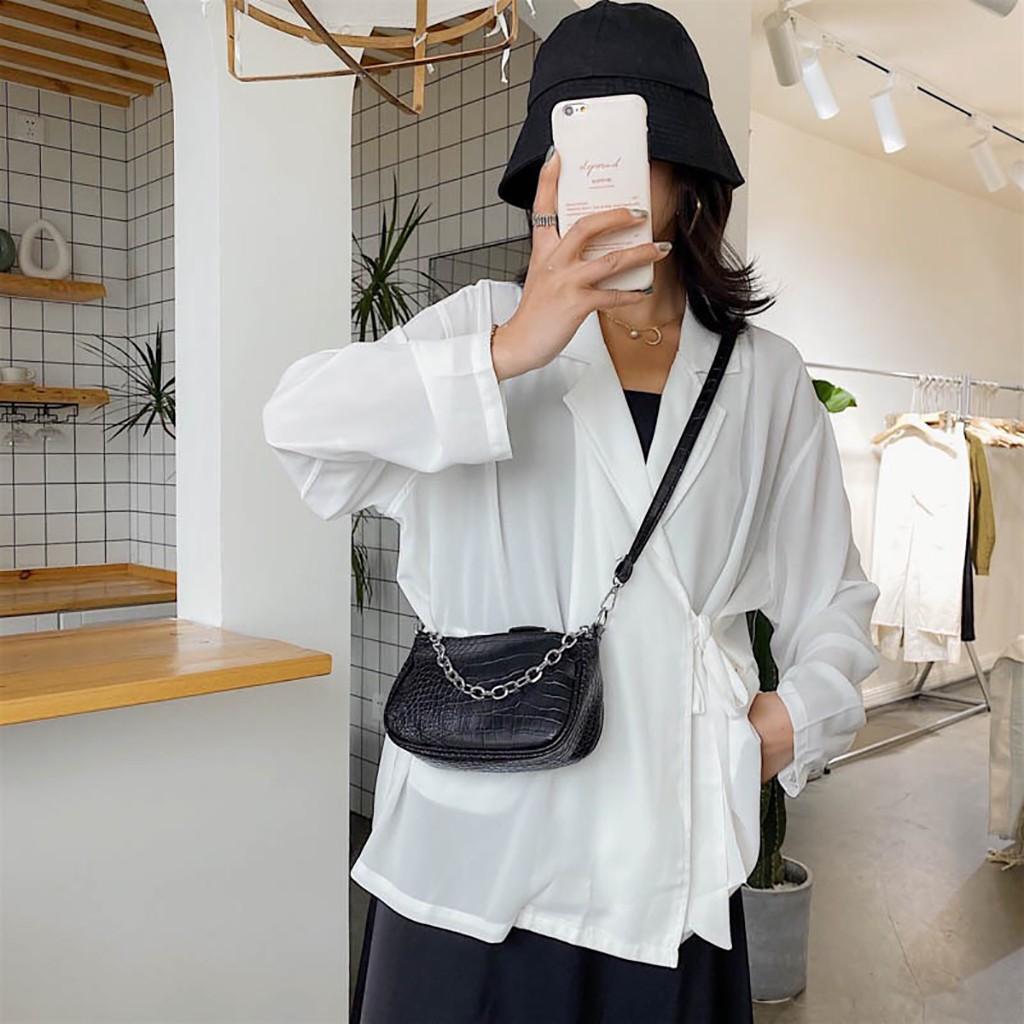 Túi kẹp nách nữ đeo chéo XÍCH BẠC phong cách hàn quốc DC152