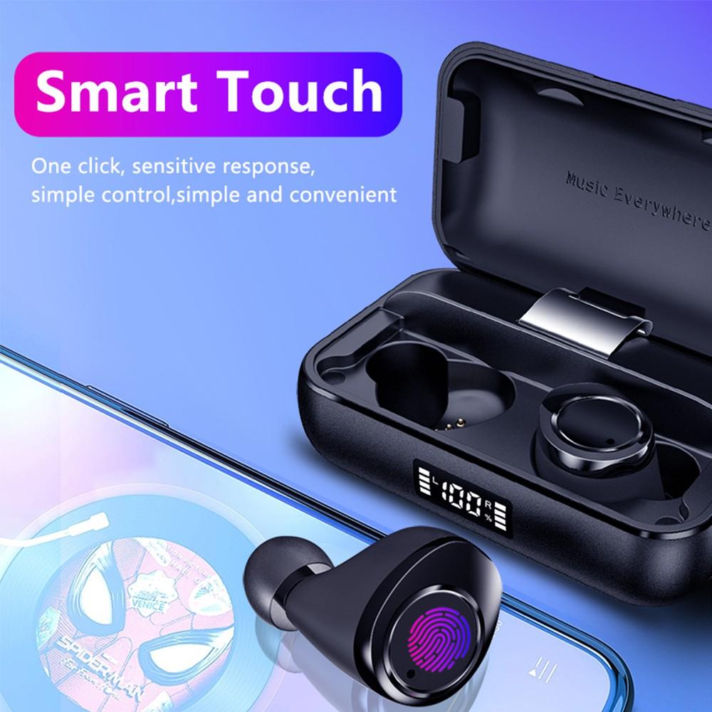 Samload True หูฟังสเตอริโอไร้สายบลูทู ธ 5.0 หูฟัง IPX7 ในหูเอียร์บัดพร้อมแบตเตอรี่ Power Bank 2200mAh สำหรับ iPhone