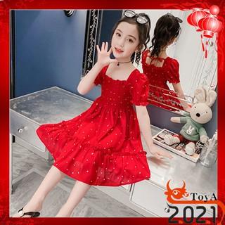 trẻ mới Váy đỏ trẻ em công chúa cho con gái 3-14 tuổi
