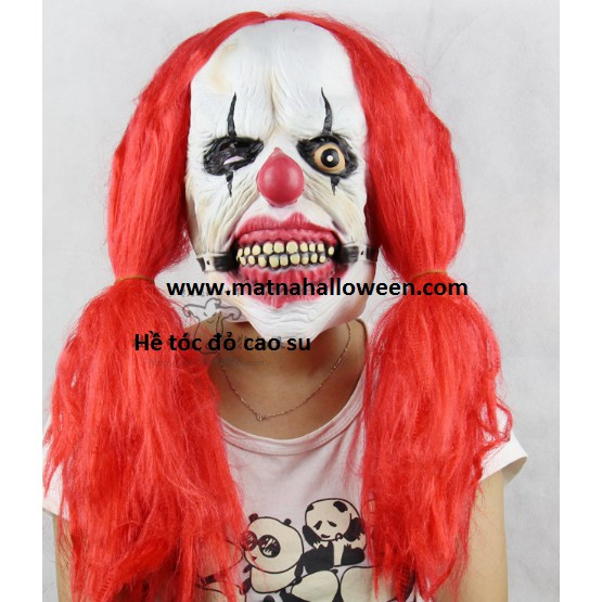 Mặt nạ cao su hề tóc đỏ