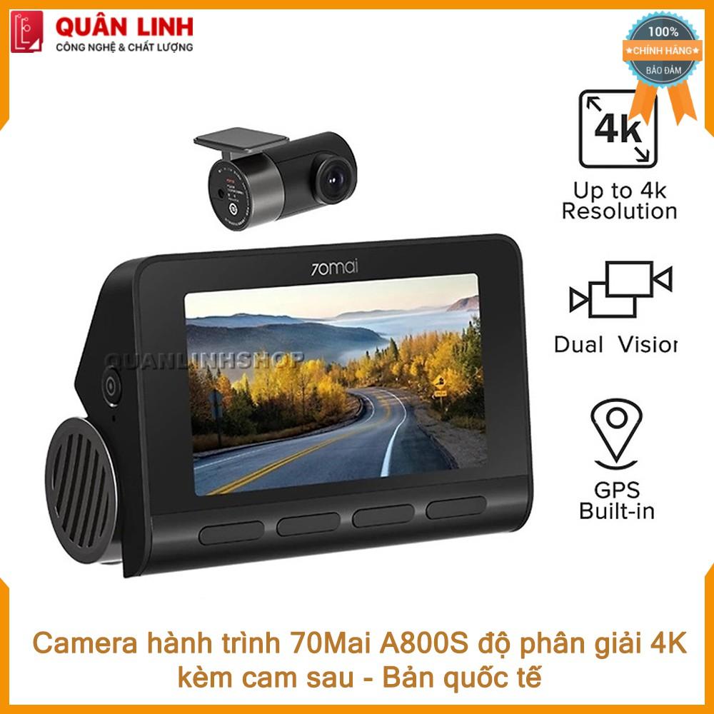 Camera hành trình 70mai A800S 4K ghi hình cả trước và sau, bản quốc tế - Bảo hành 12 tháng