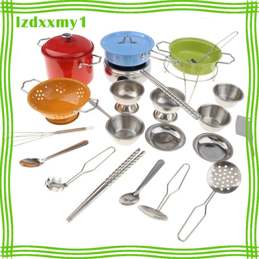Kiddy 25PCS Colorful Kids Pretend Play Stainless Steel Cookware Kitchen Toy Set