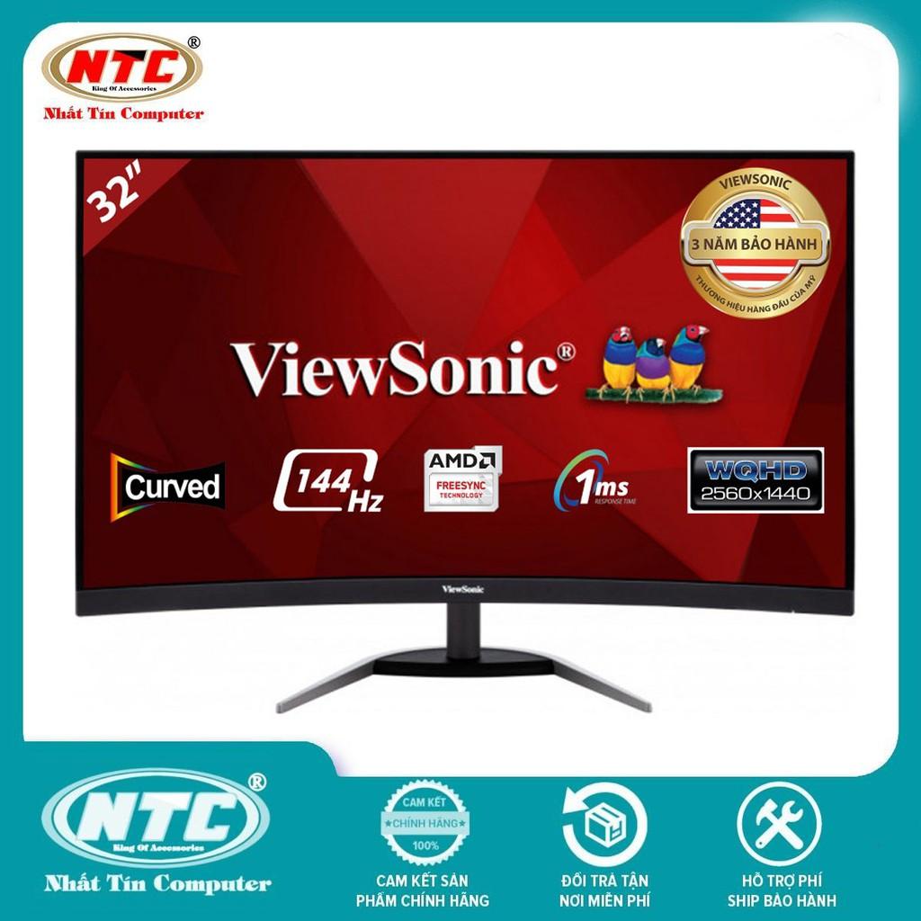 """Màn hình cong gaming ViewSonic VX3268-2KPC-MHD 32"""" VA QHD 144Hz 1ms Freesync HDMI/DP (Đen)"""