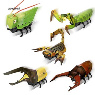 SDWC DIY Electric Walking Mantis Insect Sound Light Assembly Model Education Kids Toy