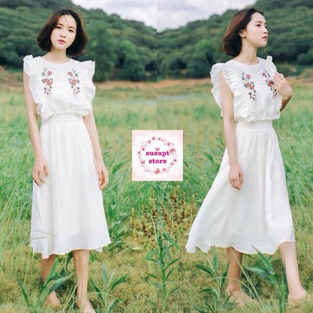 Váy đầm maxi trắng đi biển - 9947559 , 1290489131 , 322_1290489131 , 99000 , Vay-dam-maxi-trang-di-bien-322_1290489131 , shopee.vn , Váy đầm maxi trắng đi biển