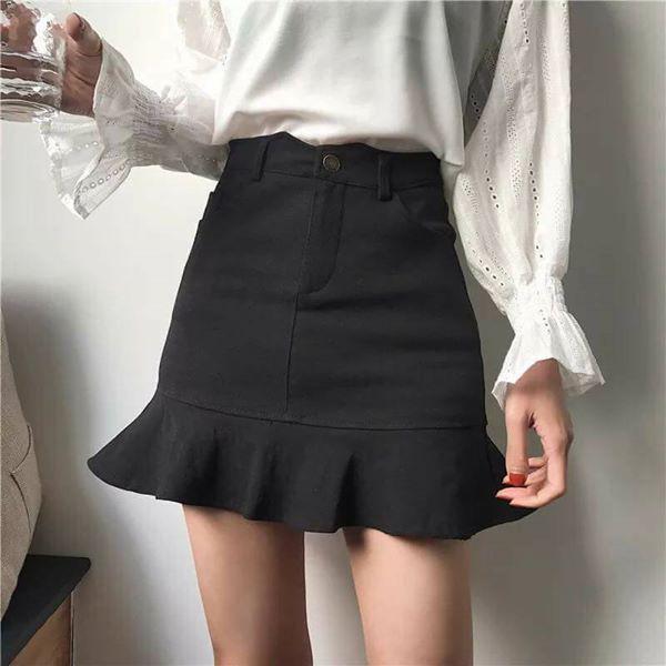 Chân váy jeans đuôi cá